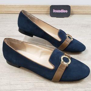 Victoria's Secret Blue Faux Suede Slip On Loafers